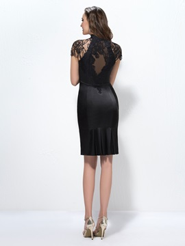 Classic Sheath Lace Short Sleeves Knee-Length Formal Dress