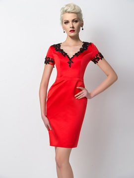 Modest Sheath V-Neck Short Sleeves Appliques Short Formal Dress
