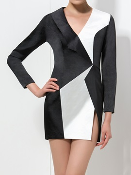 Timeless V-Neck Long Sleeve Color Block Short Formal Dress