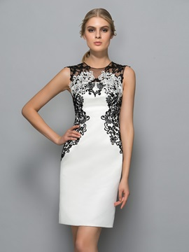 Elegant Straps Lace Appliques Column Formal Dress