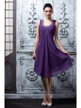 Charming A-Line Knee-Length Scoop Neck Beading Polina's Homecoming Dress
