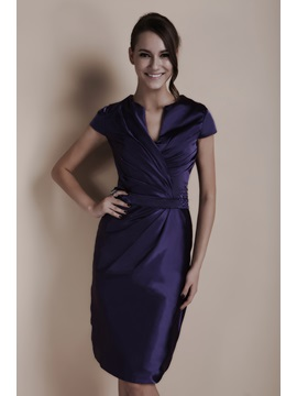 Elegant Sequins&Beading Sheath Knee-Length Short-Sleeves V-Neck Sandra's Formal Dress