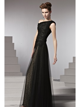 Luxurious Lace Beading A-Line Floor-Length Evening Dress