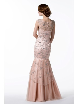 Brilliant Trumpet Beading Floor-length Scoop Neck Evening Dress
