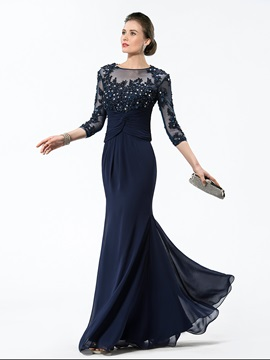 3/4 Length Sleeve Appliques 2 Pieces Mother of the Bride Dress