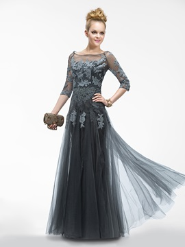 A-Line Bateau Neck Half Sleeves Appliques Long Evening Dress