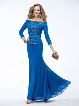Remarkable Trumpet Floor-length 3/4-Length Sleeves Beading Evening Dress