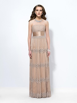 Classical A-Line Strapless Tassel Lace Zipper-up Floor-Length Evening Dress Designed