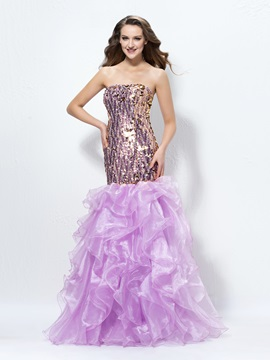 Enchanting Trumpet/Mermaid Sequins Cascading Ruffles Lace-up Evening Dress Designed