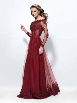 A-Line Long Sleeves Lace Evening Dress Designed