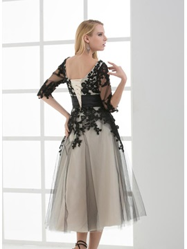 A-Line Half Sleeves Appliques Tea-Length Lace-up Evening Dress