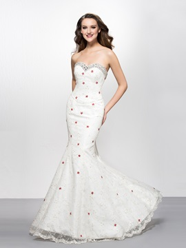 Sweetheart Sequins Beading Mermaid Lace Evening Dress Designed