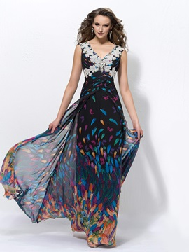 Classic A-Line Floor-Length V-Neck Zipper-up Beading Ruched Sleeveless Evening Dress