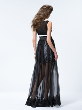 Chic A-Line Floor-Length Scoop Neckline Straps Appliques Beading Evening Dress
