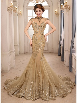Vintage High Neck Mermaid Appliques Evening Dress