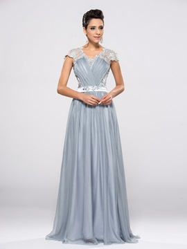 Elegant V-Neck Cap Sleeves Beading Appliques A-Line Long Evening Dress