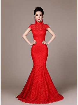 Vintage Mermaid High Neckline Lace Backless Button Short Sleeves Long Evening Dress