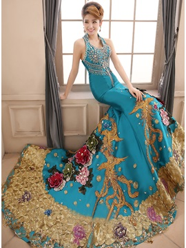 Luxurious Halter Mermaid Crystal Beading Embroidery Sweep Train Long Evening Dress