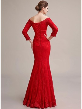 Elegant Mermaid 3/4-Length Sleeves Off-the-Shoulder Lace Appliques Long Evening Dress