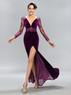 Velvet Deep V-Neck Lace Split-Front Long Evening Dress Designed