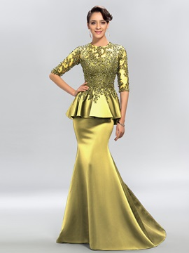 Jewel Appliques Sequins Half Sleeves Evening Dress