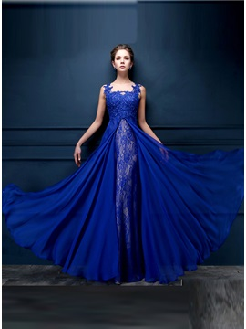 Chic Tulle Neck Appliques Lace Sequins Long Evening Dress