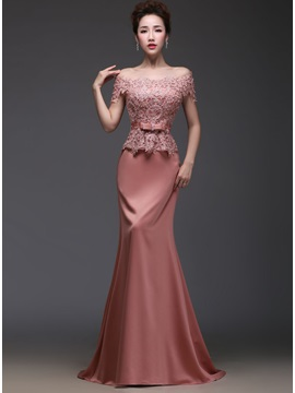 Elegant Off-the-Shoulder Lace Beading Bowknot Floor-Length Evening Dress
