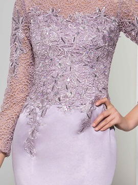 Vintage Bateau Neck Long Sleeve Lace Evening Dress