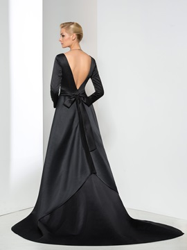 Vintage A-Line Scoop Neck Sashes Long Sleeve Long Evening Dress
