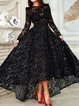 Vintage Long Sleeve Asymmetrical Black Lace Evening Dress