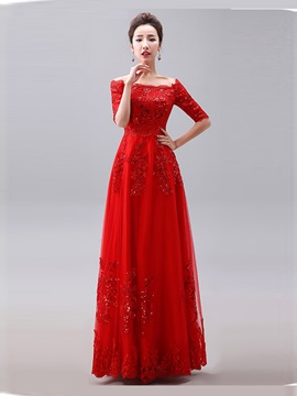 Glamorous Off-the-Shoulder Appliques Long Evening Dress