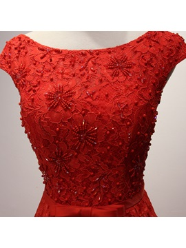 Cap Sleeve Beading Bowknot Red Evening Dress