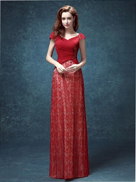 Elegant V-Neck Cap Sleeves Sequins Lace Evening Dress