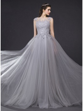 Sheer Neck Appliques Beading Long Evening Dress