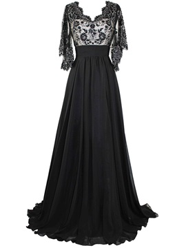Vintage V-Neck Half Sleeves Appliques Evening Dress