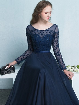 Vintage Scoop Neck Long Sleeves Beading Evening Dress
