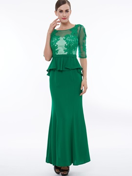 Scoop Neck Half Sleeves Appliques Ruffles Evening Dress