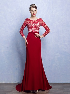 Elegant Sheath Scoop Long Sleeves Bowknot Lace Court Train Evening Dress