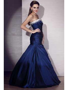 Sweetheart Mermaid Floor-Length Appliques Evening Dress
