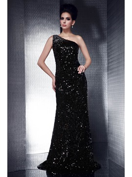 Brilliant Column Sequins&Beading One-Shoulder Floor-Length Taline