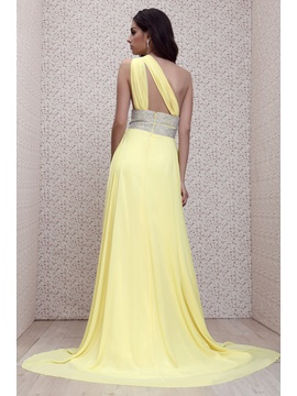 Charming Empire A-Line One-Shoulder Court Train Floor-Length Taline's Evening Dress