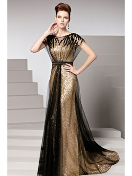 Sequins Court Train Sashes Short Sleeves Evening Dress