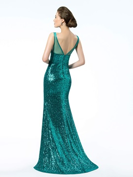 Brilliant Sequins Trumpet V-Neck Straps Sweep Train Floor-Length Evening Dress