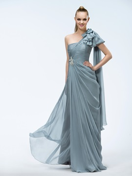 Elegant A-Line One-Shoulder Bowknot Crystal Ruched Floor-length Evening Dress