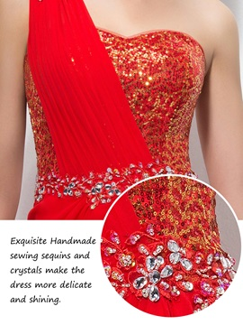 One-Shoulder Sequins Beading Evening Dress