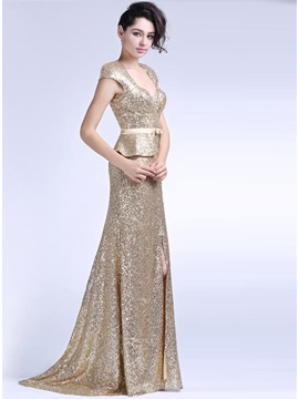 Glittering Sheath Square Cap Sleeves Split-Front Sequins Long Evening Dress