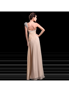 Stylish A-Line One-Shoulder Sweetheart Beading Ruched Floor-Length Evening Dress