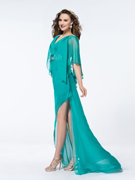 V-Neck Split-Front Sweep Train A-Line Evening Dress
