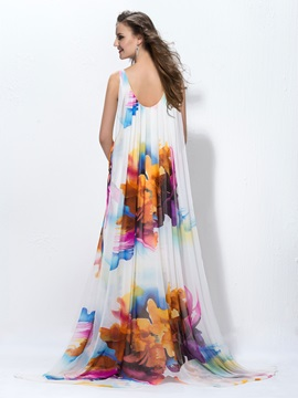 A-Line V-Neck Print Evening Dress Designed