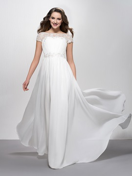 Appliques Bateau Neck Court Train Short Sleeves Long Evening Dress